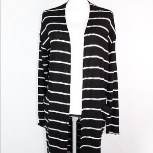 Sweaters - Black & White Stripe Cardigan